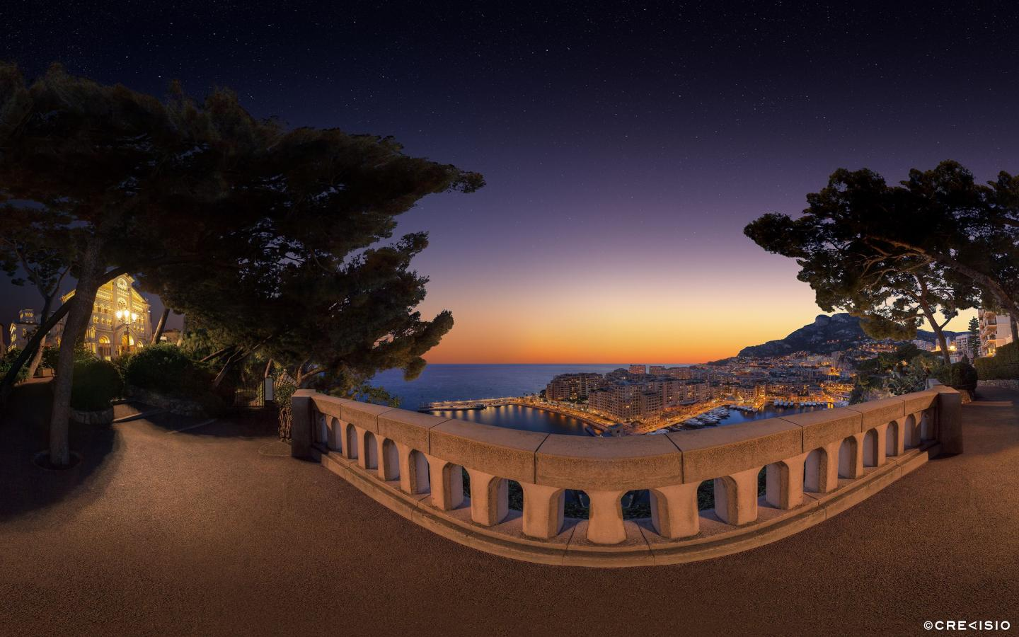 Monaco Ville Sunset over Fontvieille by Crevisio