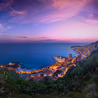 Monaco Winter Sunset Clouds by Crevisio