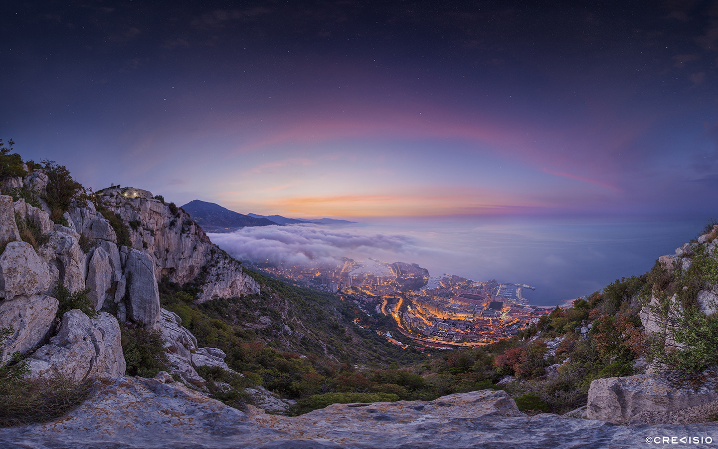 Monaco Fog Sunrise by Crevisio