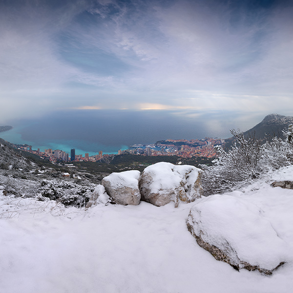 Winter Snow over Monaco 2018 by Crevisio